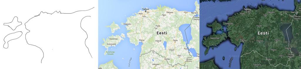 Erinevad Eesti kaardid (vasakult paremale): Taivo näpuga peast joonistatud kaart, Google'i kaart ja Google'i satelliitkaart